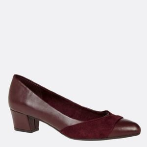 Opel Faux Leather and Suede Pump burgundy 12 wide